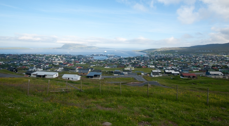 View over Tórshavn with the killing beach behind the green building just right of the center of the photo DSC_4589